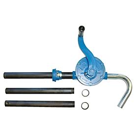 Bomba de manivela CEMO, aluminio, 0,25 l/giro, salida curvada, para barriles de 60/200 l