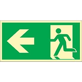 Bord Vluchtweg, wijst naar links, HLF