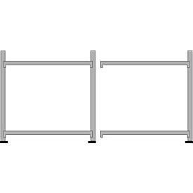Breedvakstelling WR 600, complete stelling 3,6 m, 2 niveaus, 1 basis- en 1 aanbouwsectie incl. 4 spaanplaten