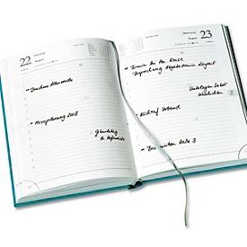 Buchkalender Florenz, 416 Seiten, B 150 x T 27 x H 210 mm, Werbedruck 80 x 50 mm, orange, Auswahl Werbeanbringung erforderlich