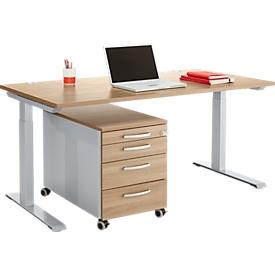 Büromöbelset 2-tlg. MODENA FLEX, höhenverstellbar, Breite 1600 mm + Rollcontainer, Kirsche Romana-Dekor