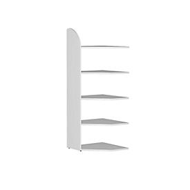 Büroregal Dante®, Eckregalfeld, H 1900 x B 600 mm, ohne Rückwand, weiß