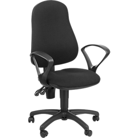 Bürostuhl, Permanentkontakt, mit Armlehnen, ergonomische Lehne, breite Sitzfläche, schwarz