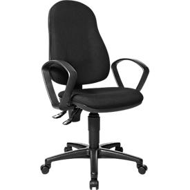 Bürostuhl Point 600, mit Armlehnen, Permanentkontaktmechanik, Muldensitz, schwarz