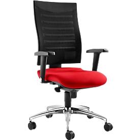 Bürostuhl SSI Proline S2, Synchronmechanik, mit Armlehnen & Lendenwirbelstütze, Bandscheibensitz, rot/schwarz