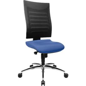 Bürostuhl SSI PROLINE S2, Synchronmechanik, ohne Armlehnen, 3D-Netz-Rückenlehne, Bandscheibensitz, blau/schwarz