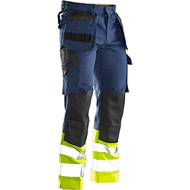 Bundhose Jobman 2277 PRACTICAL, Hi-Vis,  mit Kniepolster- & Holstertaschen, Warnschutzklasse I, dunkelblau I gelb, 44