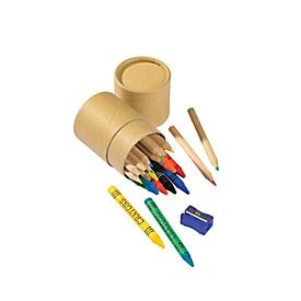 Bunt- und Wachsmalstiftebox, 25-tlg., Standard, Auswahl Werbeanbringung optional