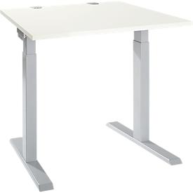 Bureau ERGO-T 2.0, vierkant, T-voet, B 800 x D 800 x H 675-895 mm, alu wit/wit
