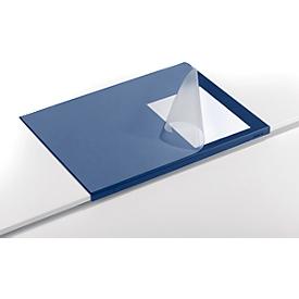 Bureau onderlegger, soepele pvc-folie, 650 x 520 mm, randbescherming, blauw