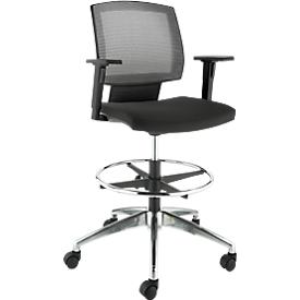 Bureaustoel MESH, met armleuningen, rugleuning met ademend gaas, kuipzitting, met voetenring