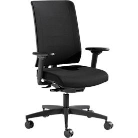Bureaustoel SSI PROLINE PREMIUM P1, synchroonmechanisme, met armleuningen, ergonomisch, zwart