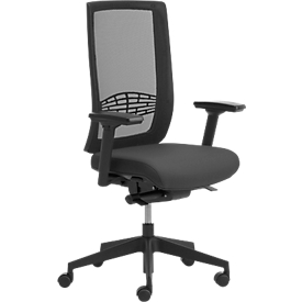 Bureaustoel WIKI, met armleuningen, netrug, kunststof frame, zwart