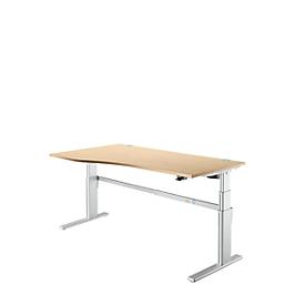 Bureautafel Comfort, aanbouw links, tweetraps elektrisch in hoogte verstelbaar, B 1800 mm, esdoorn/blank aluminium