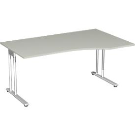 Bureautafel met aanbouw PALENQUE, C-poot, vrije vorm, aanbouw rechts, B 1800 x D 800/1000 x H 720 mm lichtgrijs
