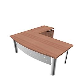 Bureautafel met sideboard X-TIME-WORK, 4-poot, boog, B 2000 x D 900 x H 740 mm, Canaletto notenpatroon/wit