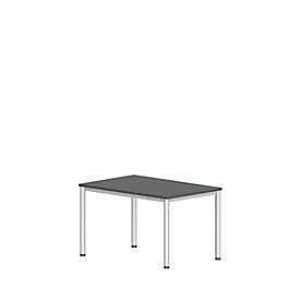 Bureautafel NEVADA, 4-poot, rechthoek, ronde buis, B 1200 x D 800 x H 740 mm, donkergrijs/wit