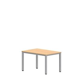 Bureautafel NEVADA, 4-poot, rechthoek, vierkante buis, B 1200 x D 800 x H 740 mm, beukenpatroon/aluminium zilver