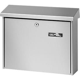 Buzón Journal, chapa de acero, formato de entrada de cartas C4, placa de identificación, cerradura de cilindro, plata