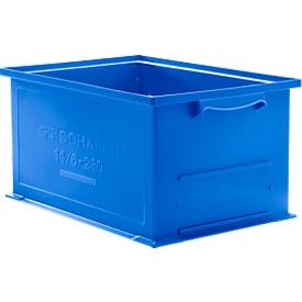 Caja apilable serie 14/6-230, de polipropileno, con empuñadura empotrada, capacidad 26l, azul