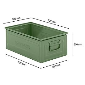 Caja apilable serie ST14/6-A, de acero, capacidad 27,7l, ideal p. mercancías pesadas, verde