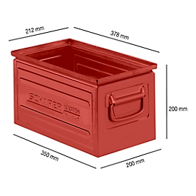 Caja apilable serie ST14/6-B, de acero, capacidad 12,8 L, ideal para mercancías pesadas, rojo
