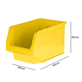 Caja con abertura frontal LF 322, plástico, 10,4l, amarillo