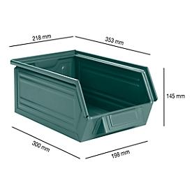Caja con abertura frontal SSI Schäfer LF 14/7-3Z, acero, L 353 x An 218 x Al 145mm, 8l, azul grisáceo