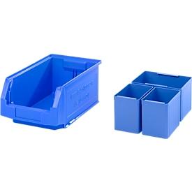 Caja con abertura frontal SSI Schäfer LF 321, L 343 x An 209 x Al 145mm, 7,5l, azul + caja insertable 2 EK111, 1 EK112