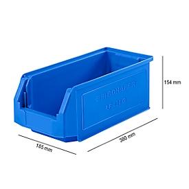 Caja con abertura frontal SSI Schäfer LF 421, polipropileno, L 380 x An 185 x Al 154mm, 7,8l, azul