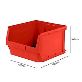 Caja con abertura frontal SSI Schäfer LF 543, plástico PP, L 500 x An 470 x Al 300mm, 57l, rojo