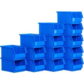 Caja con abertura frontal SSI Schäfer TF 14/7-3Z, polipropileno, L 343 x An 209 x Al 145mm, 7,2l, azul