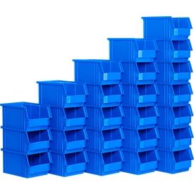 Caja con abertura frontal SSI Schäfer TF 14/7-4, polipropileno, L 230 x An 150 x Al 122mm, 2,6l, azul, 25 unidades