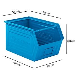 Caja con abertura frontal y barra portadora SSI Schäfer LF 14/7-2Z, acero, L 540 x An 326 x Al 300mm, 41l, azul