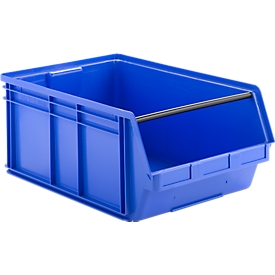 Caja con abertura frontal y barra portadora SSI Schäfer LF 14/7, polipropileno, L 715 x An 470 x Al 300mm, 74l, azul