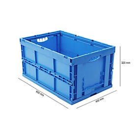Caja con dimensiones norma europea 643-66, sin tapa, 60l, azul
