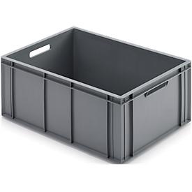 Caja con dimensiones norma europea, adecuado para alimentos, 55l, cerrado, gris