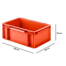 Caja con dimensiones norma europea EF 3120, 4,2l, L 300 x An 200 x Al 120mm, rojo