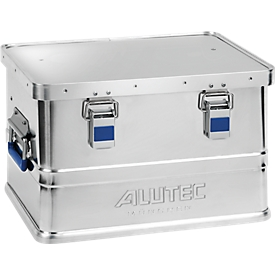 Caja de aluminio Alutec Basic, grosor del material 0,8mm, apilable, con tapa de 1,5 mm, volumen 30l
