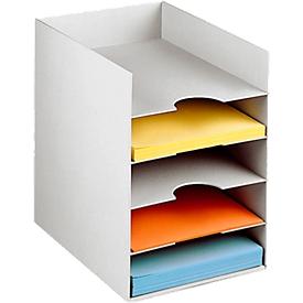 Caja de formularios PAPERFLOW DIN A4, poliestireno, para carpetas de documentos, 5 compartimentos, gris claro
