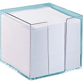 Caja de papel para notas, transparente, 95x95x95 mm, 700 hojas, blanco