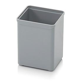 Caja insertable caja organizadora, cuadrado, plástico resistente, gris
