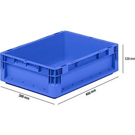 Caja ligera norma europea ELB 4120, de PP, capacidad 10,9l, sin tapa, azul