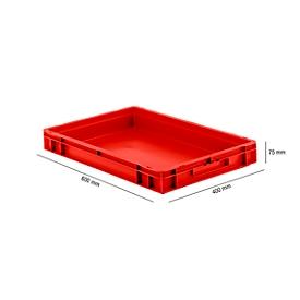 Caja norma europea serie EF 6070, de PP, capacidad 14,3l, paredes cerradas, asa integrada, rojo