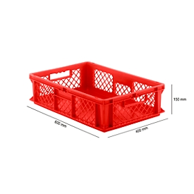 Caja norma europea serie EF 6151, de PP, capacidad 29,4l, paredes caladas, rojo, asidero