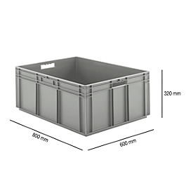 Caja norma europea serie EF 8320, de PP, capacidad 122l, paredes cerradas, gris, asidero