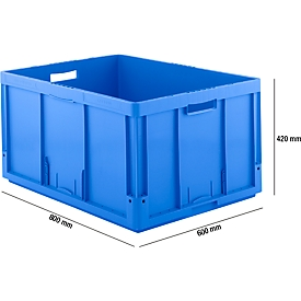 Caja norma europea serie LTB 8420-GL, de PP, capacidad 175l, asidero, azul