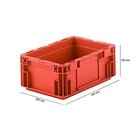 Caja norma europea serie MF 3120, de PP, capacidad 5,2l, asa integrada, rojo