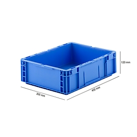 Caja norma europea serie MF 4120, de PP, capacidad 10l, asa integrada, azul