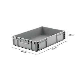 Caja norma europea serie MF 6120, de PP, capacidad 21l, asa integrada, gris